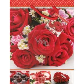 Nekupto Dárková papírová taška střední 23 x 18 x 10 cm červená-červené růže 1 kus 973 30 BM
