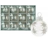 Sada skleněných baněk se stříbrnou hvězdou 3 cm 12 kusů