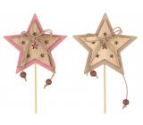 Hvězda dřevěná 7 cm + špejle 1 kus