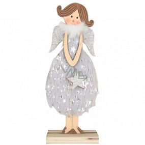 Anděl dřevěný v šedých šatech 16 cm, na postavení