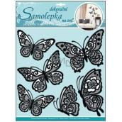 Room Decor Samolepky na zeď plastické 3D motýli s pohyblivými krajkovými černými křídly 39 x 30 cm 1 arch