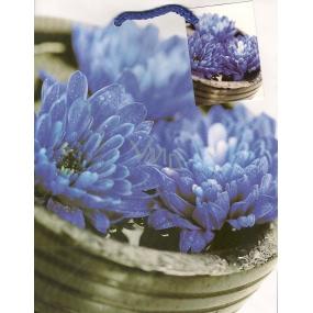 Nekupto Dárková papírová taška 23 x 18 x 10 cm Modré květy 1 kus 758 40 BM