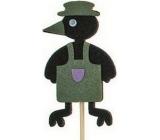 Zápich vrána v zástěře zelená 7 cm + špejle 15 cm