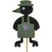 Vrána v zástěře zelená zápich 7 cm + špejle 15 cm