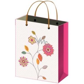 Taška Dárková celoroční růžová s květy L 32 x 26 x 12,7 cm