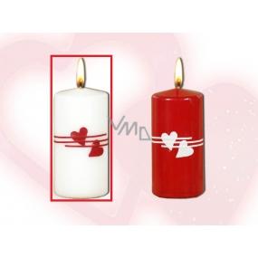Lima Valentýnská svíčka srdíčka bílá válec 50 x 100 mm 1 kus