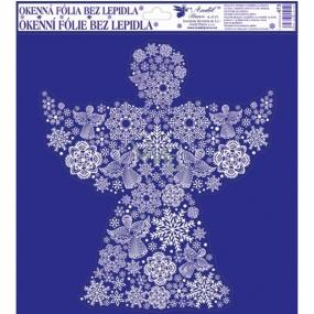 Room Decor Okenní fólie bez lepidla s glitrem, obrázky z vloček anděl 33,5 x 30 cm