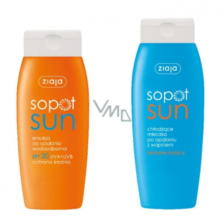 Ziaja Sun SPF 20 Water-based sunscreen milk 150 ml + Calcium milk after sunbathing with calcium 200 ml FREE.