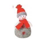 Sněhulák šedý pletený na postavení 17 cm