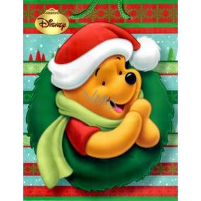 Ditipo Disney Dárková papírová taška pro děti M Medvídek Pú se santa čepicí 23 x 9,8 x 17,5 cm