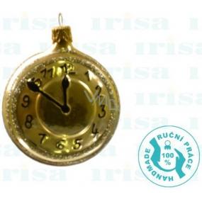 Irisa Baňky skleněné zlaté, hodiny, sada 6,5 cm 2 kusy