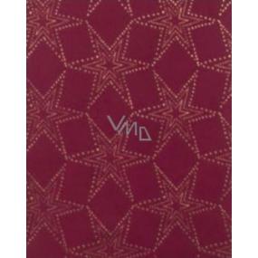 Zöllner Vánoční Luxusní balicí papír s ražbou Luxury Noble Stars vínový zlaté hvězdy 1,5 m x 70 cm