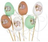 Vajíčko s ovečkou plastové zápich 6 cm + špejle různé barvy 1 kus