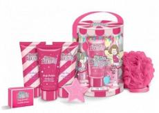 Grace Cole Flying Chairs šumivá koule do koupele 50 g + konfety do koupele 25 g + pěna do koupele 50 ml + mycí gel 50 ml + tělový krém 50 ml + nylonová mycí žínka pro děti kosmetická sada