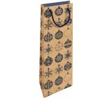 Nekupto Dárková kraftová taška na láhev 15 x 40 cm Vánoční modré baňky 616 WHLH