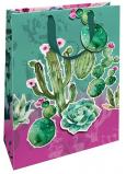 Nekupto Dárková papírová taška matná 22,3 x 33,3 x 10 cm Kaktusy s 3D aplikací kaktusu 1695 LBL
