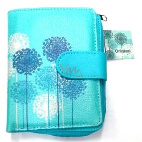 Albi Original Designová peněženka z koženky Pampelišky na modrém pozadí 10 x 13 cm