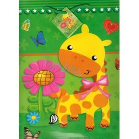 Nekupto Dárková papírová taška velká 32,5 x 26 x 13 cm žirafa 1 kus 1138 50 KFL