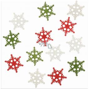 Dřevěné vločky červená, zelená, bílá 4 cm 12 kusů