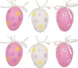 Vajíčka plastová na zavěšení bílo-růžová 6 cm 6 kusů v sáčku