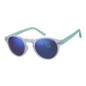 Dudes & Dudettes Sluneční brýle pro děti bílé průhledné, zrcadlové skla modrá, stranice světle zelené DD24002