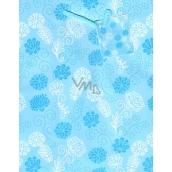 Nekupto Dárková papírová taška střední 18 x 23 x 10 cm Modrá s květy 1639 40 KFM