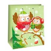 Ditipo Dárková papírová taška AB velká světle zelená 2 sovy lesklé lamino 26,4 x 13,6 x 32,7 cm