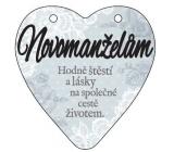 Albi Závěsná plaketka srdce Novomanželům 9 x 10 cm
