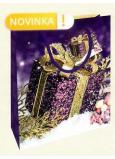 Nekupto Dárková papírová taška 23 x 18 x 10 cm Vánoční fialová dárek WBM