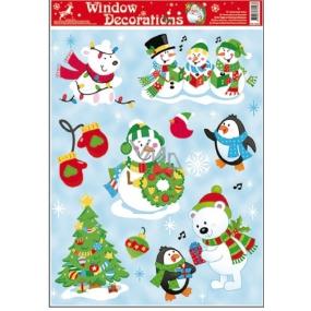 Okenní fólie bez lepidla vánoční motivy uprostřed sněhulák s věncem 42 x 30 cm