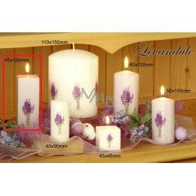 Lima Květina Levandule vonná svíčka světle fialová s obtiskem levandule hranol 45 x 120 mm 1 kus