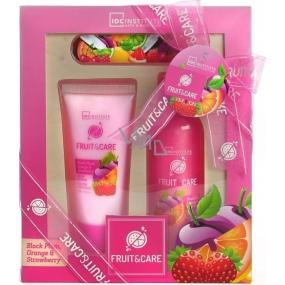 Idc Institute Fruit & Care Black Plum, Orange a Strawberry sprchový gel 100 ml + tělové mléko 60 ml + pilník na nehty 1 kus, kosmetická sada