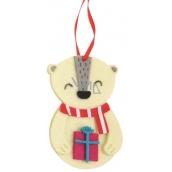 Medvídek z filcu barevný dekorace na zavěšení 10 cm