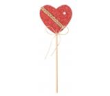Srdíčko pletené červená zápich 6 cm + špejle