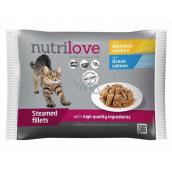 Nutrilove Dušené filetky se šťavnatým kuřecím v omáčce, dušené filetky se šťavnatým lososem v omáčce kompletní krmivo pro kočky kapsička 4 x 85 g