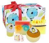 Bomb Cosmetics Překrásná medová - Bee-autiful šumivý balistik do koupele 160 g + špalíček do koupele 50 g + glycerinové mýdlo 2 x 100 g + balzám na rty 4,5 g, kosmetická sada