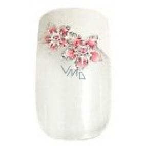 Diva & Nice Natureasy Nails Decorated nalepovací nehty čiré s bílo-růžovou aplikací 24 kusů + lepidlo 2 g