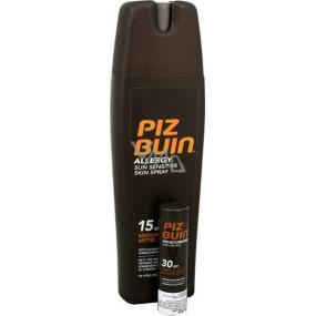 Piz Buin Allergy SPF15 mléko na opalování ve spreji 200 ml + Piz Buin In Sun Lipstick SPF30 balzám na rty 4,9 g
