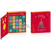 English Tea Shop Bio Adventní kalendář ve tvaru knihy červený, 25 pyramidek sypaných čajů, 13 příchutí, dárková sada