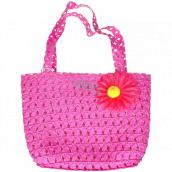 Kids Fun Dětská taška s květinou tmavě růžová 20 x 15 cm