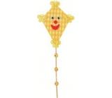 Dráček na špejli s kuličkami žlutý 30 cm