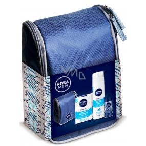 Nivea Sensitive Cooling balzám po holení 100 ml + gel na holení 200 ml + Cool Kick kuličkový antiperspirant pro muže 50 ml + kosmetická taštička,pro muže kosmetická sada