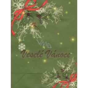 Nekupto Dárková kraftová taška střední 289 WKL zelená Veselé Vánoce 29 x 22 x 10 cm