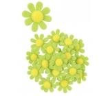 Dekorace květy z filcu s lepíkem zelené 3,5 cm v krabičce 18 kusů