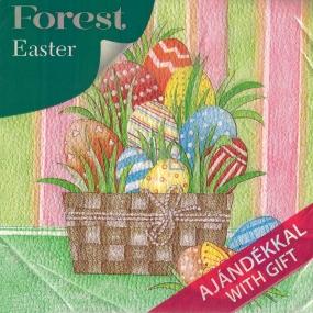 Forest Velikonoční papírové ubrousky Košík s vajíčky 1 vrstvé 33 x 33 cm 20 kusů