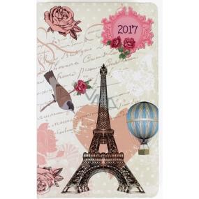 Albi Diář kapesní týdenní Eiffelovka s růžemi 9,5 cm × 15,5 cm × 1,1 cm