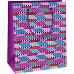 Ditipo Dárková papírová taška 11,4 x 6,4 x 14,6 cm růžovo modro fialová