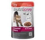 Nutrilove Dušené filetky se šťavnatým hovězím v želé kompletní krmivo pro kočky kapsička 85 g