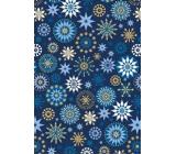 Ditipo Dárkový balicí papír 70 x 200 cm Vánoční modrý modro-zlaté vločky
