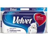 Velvet White Soft jemně bílý toaletní papír 3 vrstvý 8 kusů